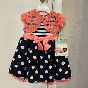 3 Piece Bonnie Jean Striped Polka Dot Dress